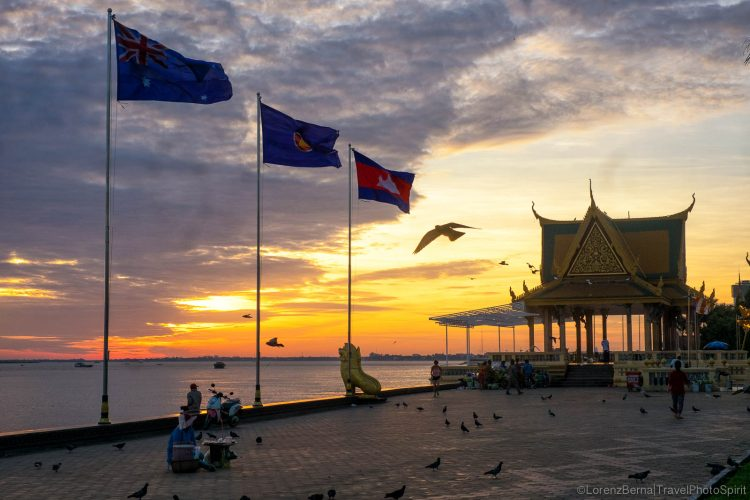 Sunrise along the riverside_How to Spend a Day in Phnom Penh