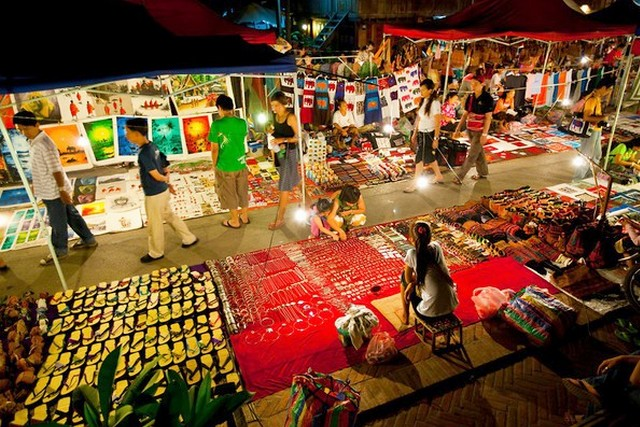 Lively night market at Vientiane, Laos